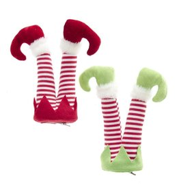 Kurt Adler Elf Legs Clip Ornaments 8.5 Inch 2 Assorted