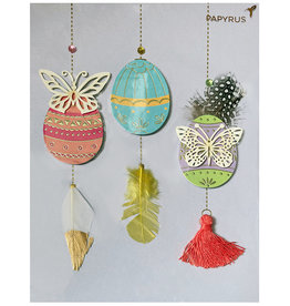 PAPYRUS® Easter Cards Hanging Decorated Feathered Eggs Card