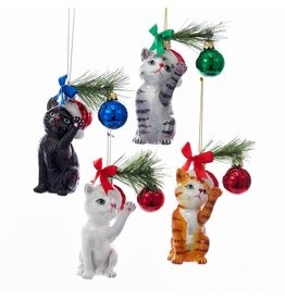 Kurt Adler Christmas Cat Glass Nobel Gems Ornaments Set of 4