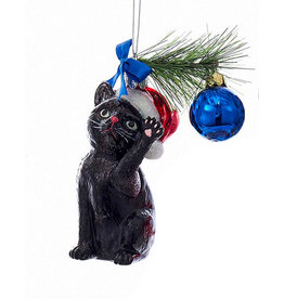 Kurt Adler Christmas Black Cat Glass Nobel Gems Ornament