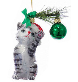 Kurt Adler Christmas Cat Glass Nobel Gems Ornament Grey Cat