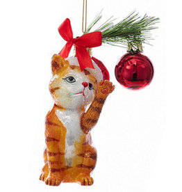 Kurt Adler Christmas Cat Glass Nobel Gems Ornament Orange Cat