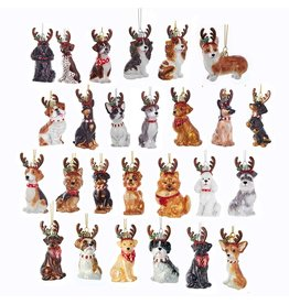 Kurt Adler Dogs With Antlers Glass Nobel Gems Ornaments Set of 26