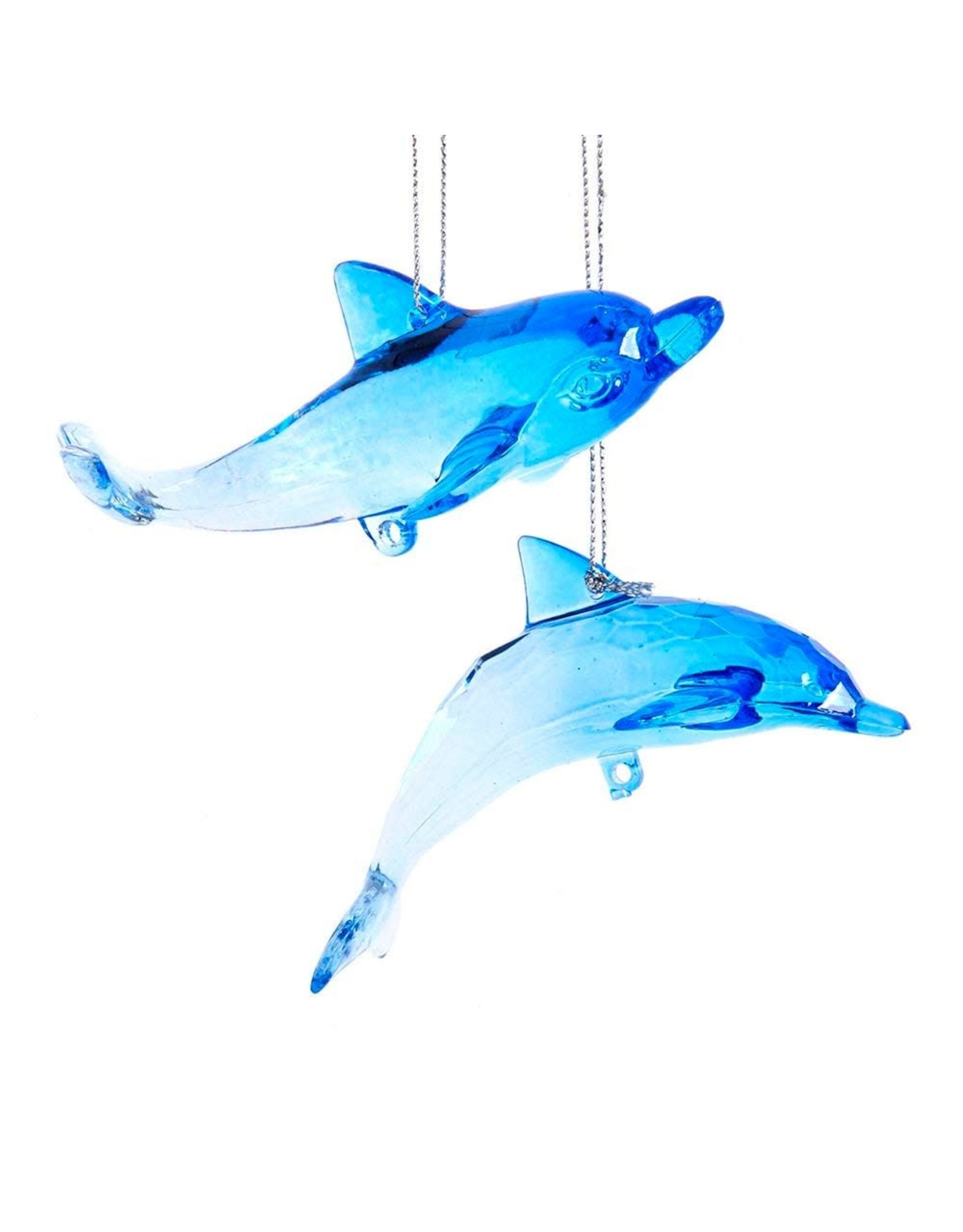 Kurt Adler Acrylic Dolphin Ornaments Set of 2
