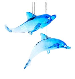 Kurt Adler Acrylic Dolphin Ornaments Set of 2