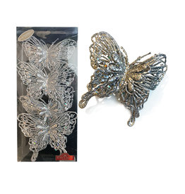 Kurt Adler Silver Glitter Butterfly Clip-On Ornaments 4pc Box Set