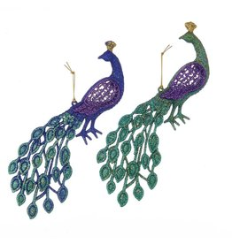 Kurt Adler Glittered Peacock Ornaments Set of 2