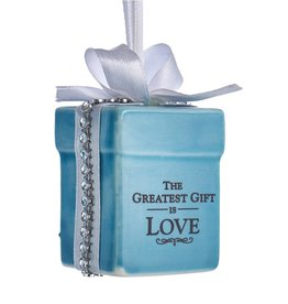 Kurt Adler Tiffany Style Gift Box Ornament The Greatest Gift Is Love