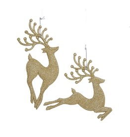 Kurt Adler Champagne Gold Diamond Reindeer Ornaments 2 Assorted