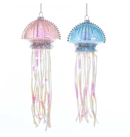 Kurt Adler Glass Blue And Pink Jellyfish Ornaments 2 Assorted