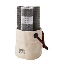 Mud Pie Canvas Dish Towel Basket Set - WASH