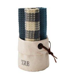 Mud Pie Canvas Dish Towel Basket Set - SCRUB