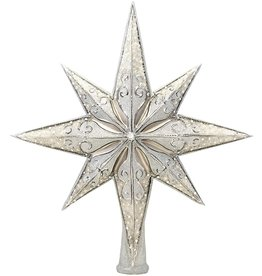 Christopher Radko Christmas Tree Topper Silver Stellar Finial