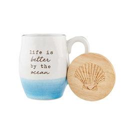Mud Pie Beach Coffee Mug w Coaster Set - Life Is Better By The Ocean