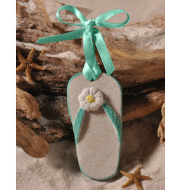 Digs Flip-Flop Sand Christmas Ornament - Aqua