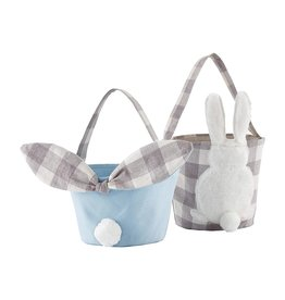 Mud Pie Gingham Easter Bunny Baskets Blue SET of 2 Assorted