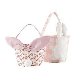 Mud Pie Gingham Easter Bunny Baskets Rose SET of 2 Assorted