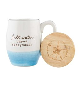Mud Pie Beach Coffee Mug w Coaster Set - Salt Water Cures Everything