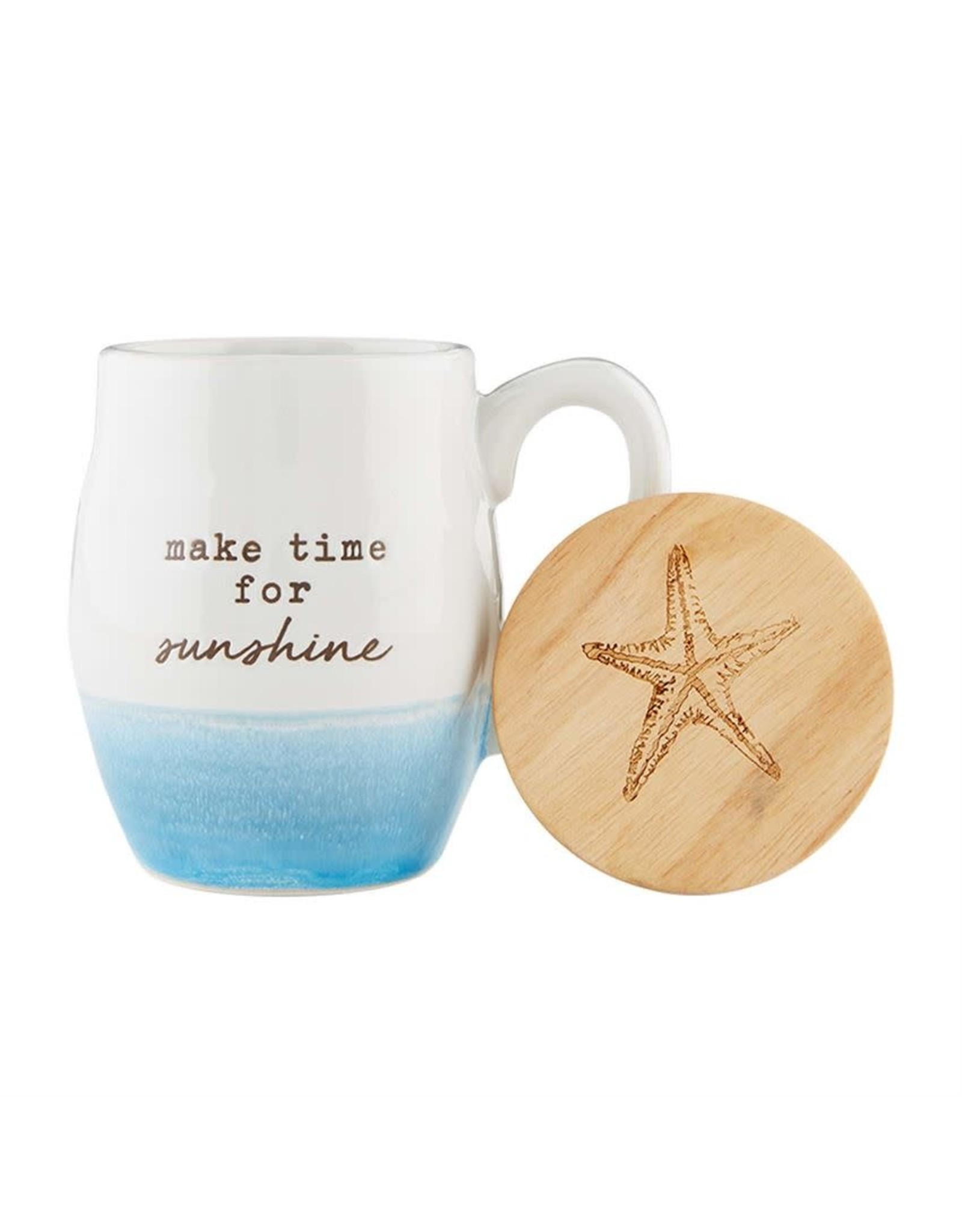 Mud Pie Beach Coffee Mug w Coaster Set - Make Time For Sunshine