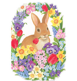 Caspari Easter Cards Bunny Among Flowers Die-Cut Greeting Card