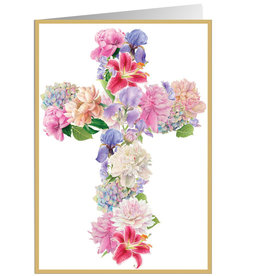 Caspari Easter Cards Floral Cross with Foil Easter Greeting Card