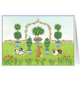 Caspari Easter Cards Bunnies And Topiary Garden Easter Greeting Card