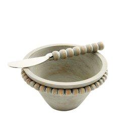 Mud Pie Gray Beaded Wood Dip Bowl Set