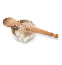 Mud Pie Stoneware Spoon Rest Set w Wooden Spoon