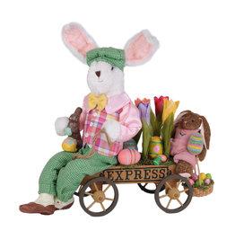 Karen Didion Flower Express Cart Bunny Easter Spring Collectible
