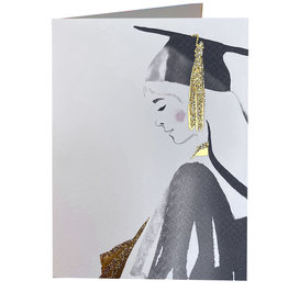PAPYRUS® Graduation Card Girl In Black And Gold Cap