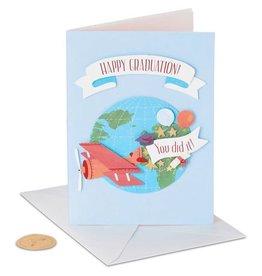 PAPYRUS® Graduation Card Airplane Flying Around Globe