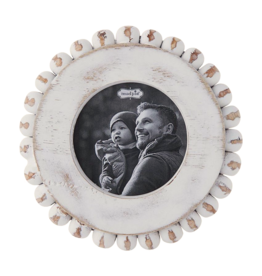 Mud Pie Small Round White Washed Beaded Frame 5 Inch