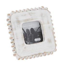 Mud Pie Small Square White Washed Beaded Frame