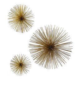 Twos Company Metal Wall Art Star Burst Set of 3