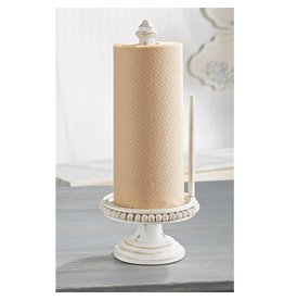 Mud Pie White Washed Beaded Paper Towel Holder