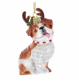 Kurt Adler Nobel Gems Bulldog With Antlers Glass Ornament