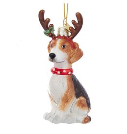 Kurt Adler Nobel Gems Beagle Dog With Antlers Glass Ornament