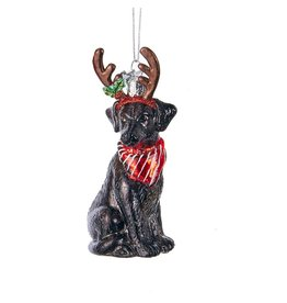 Kurt Adler Nobel Gems Black Labrador Retriever With Antlers Glass Ornament