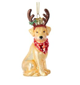 Kurt Adler Nobel Gems Yellow Labrador Retriever With Antlers Glass Ornament