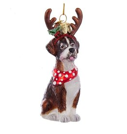 Kurt Adler Nobel Gems Boxer Dog With Antlers Glass Ornament