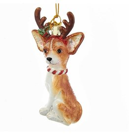 Kurt Adler Nobel Gems Chihuahua Dog With Antlers Glass Ornament
