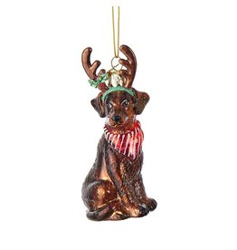 Kurt Adler Nobel Gems Chocolate Labrador Retriever Dog With Antlers Glass Ornament