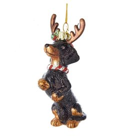 Kurt Adler Nobel Gems Dachshund Dog With Antlers Glass Ornament