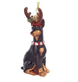 Kurt Adler Nobel Gems Doberman Dog With Antlers Glass Ornament