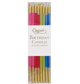 Caspari Slim Birthday Candles In Mixed Brights 16PK