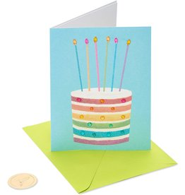 PAPYRUS® Birthday Card Glittered Rainbow Cake