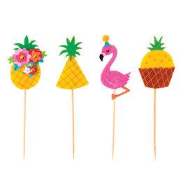 Papyrus Cupcake Party Picks 12pk Aloha Party Pineapples Flamingos
