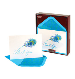 PAPYRUS® Handmade Peacock Feather Thank You Boxed Notes Set of 8