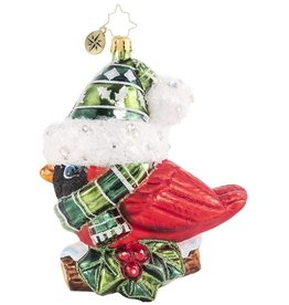 Christopher Radko Bundled-Up Feathered Friend Ornament 7 inch