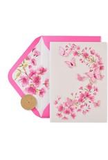 PAPYRUS® Blank Card Pink Glitter Butterflies Floral Design